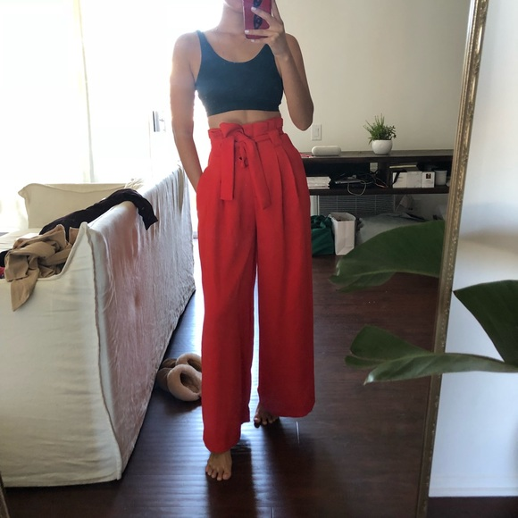 ad5928249a65bd River Island Pants | Red Wide Leg Trousers | Poshmark